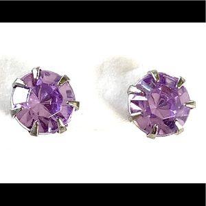 Purple Rhinestone Stud Earrings